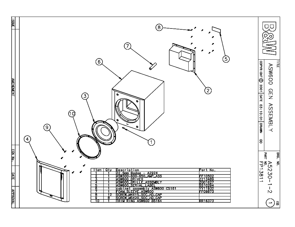 bw asw active subwoofer parts service manual free download, schematic