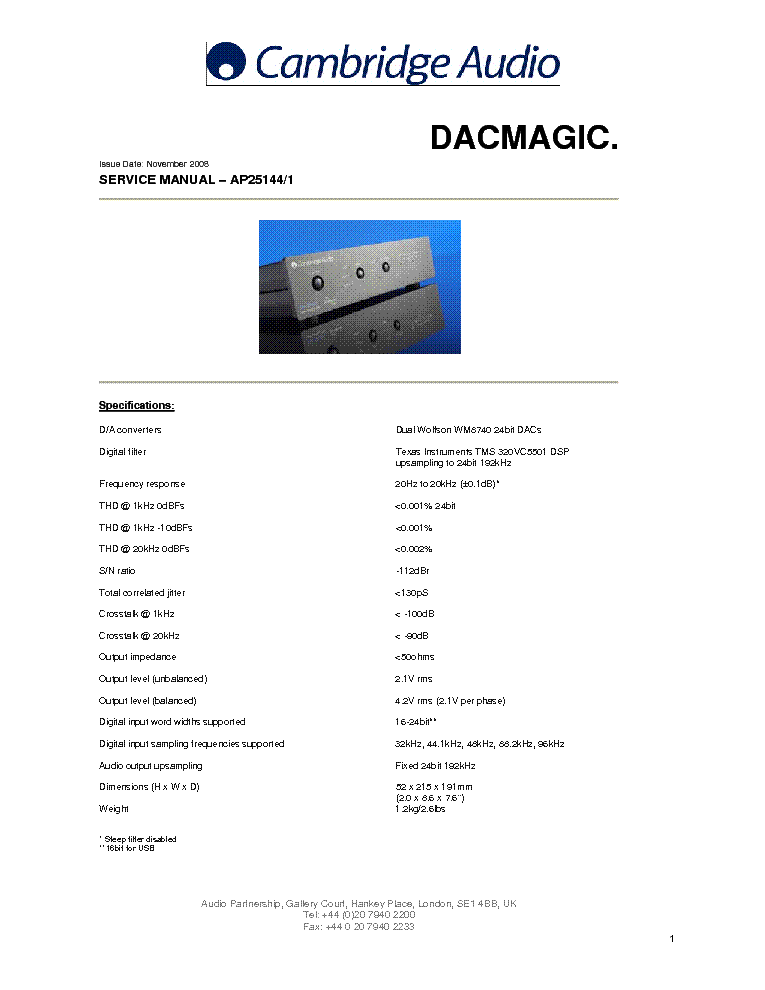 CAMBRIDGE-AUDIO AP25144-1 DACMAGIC 2008 SM service manual