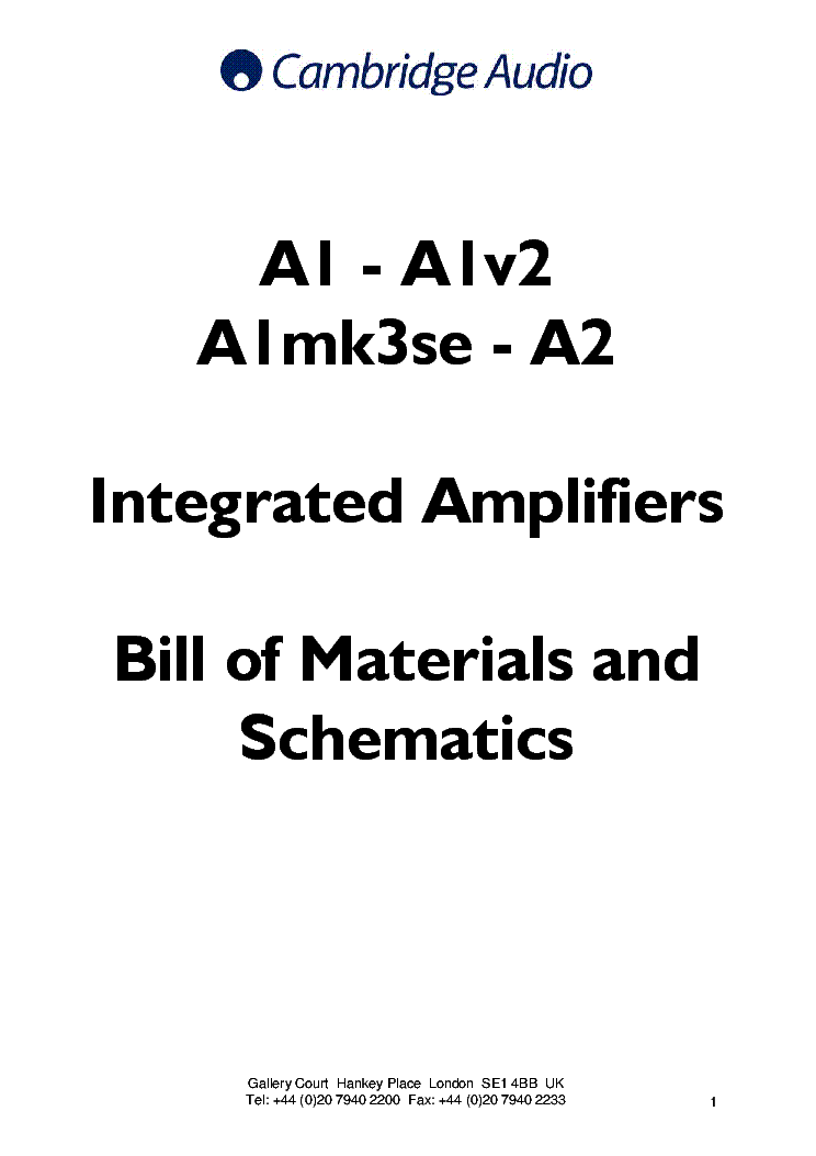 CAMBRIDGE AUDIO A1 A2 SCH Service Manual download, schematics