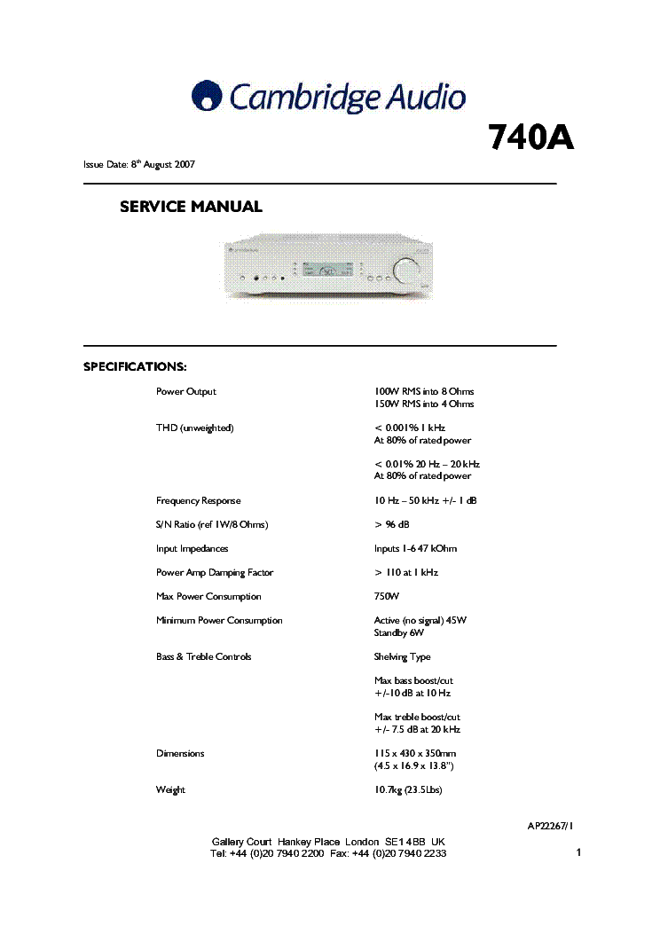 Cambridge azur-540a v2. 0 sm service manual download, schematics.