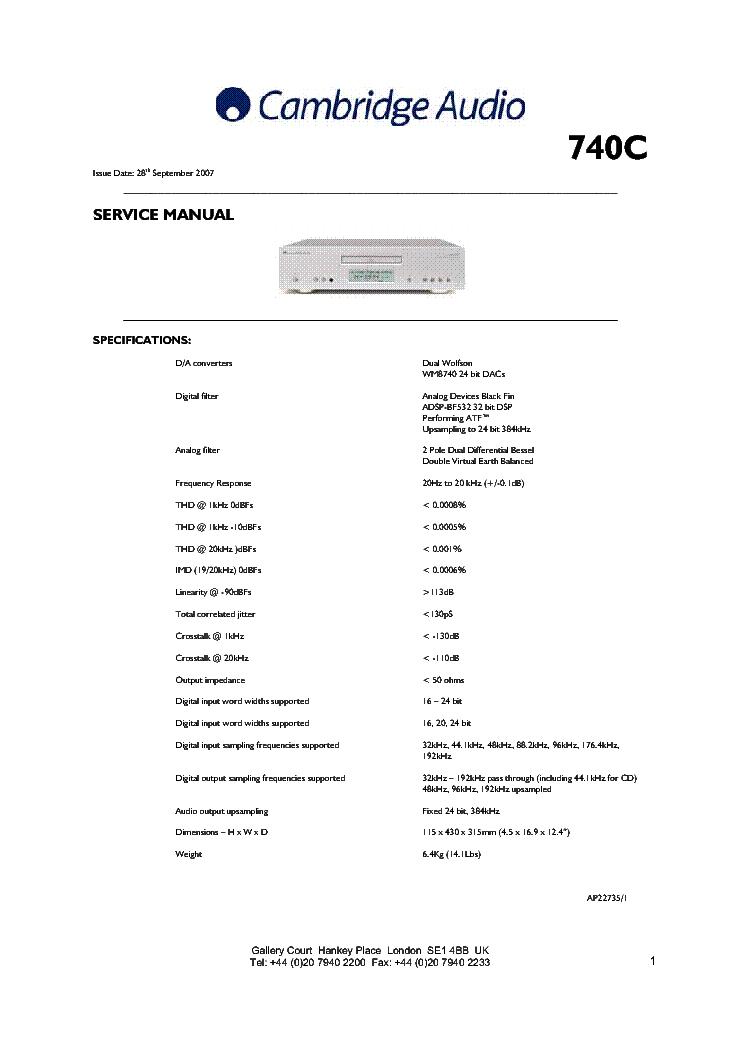 Cambridge Audio Azur 851a Manual