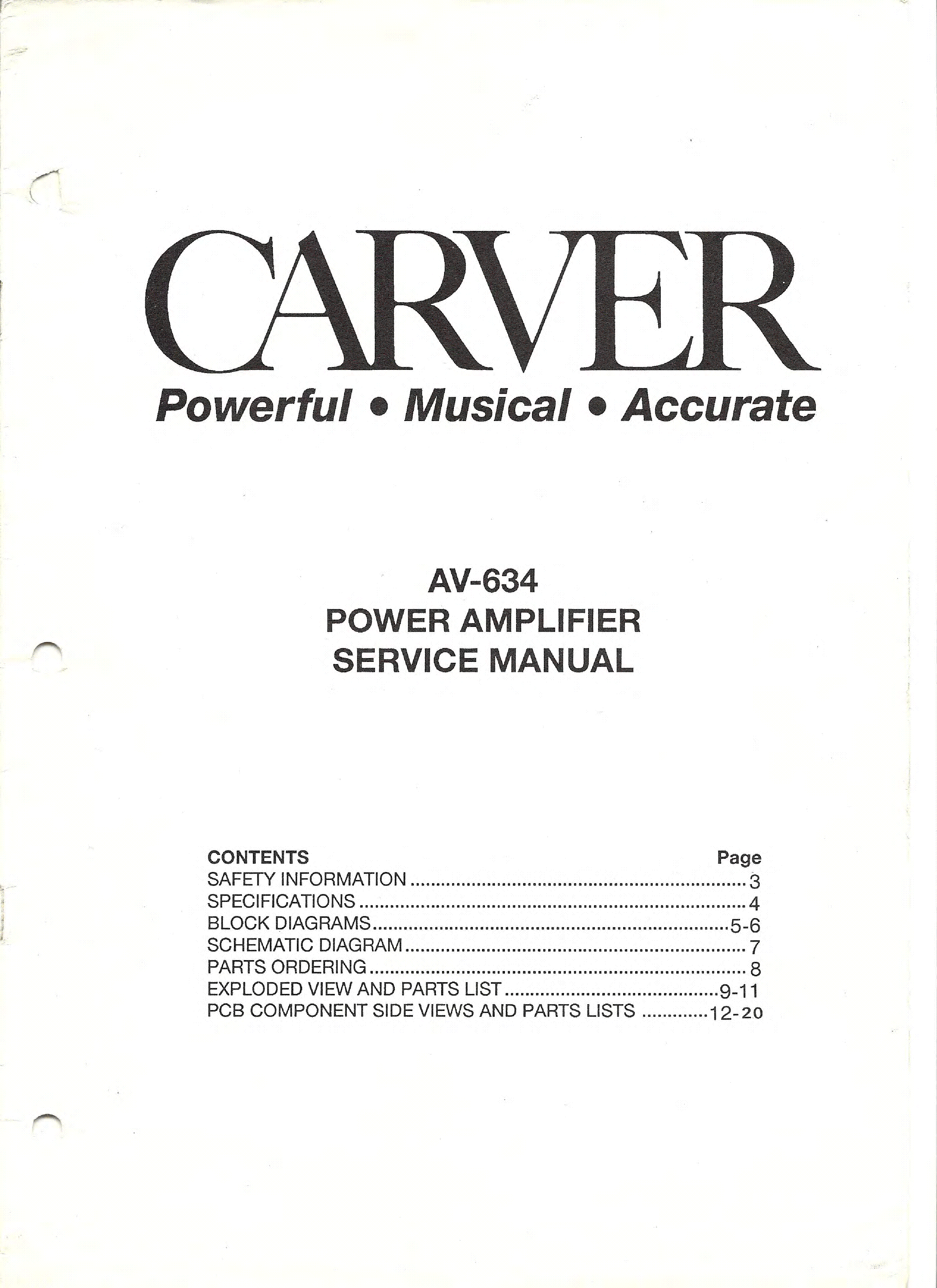 CARVER PM-300 SM Service Manual free download, schematics ...
