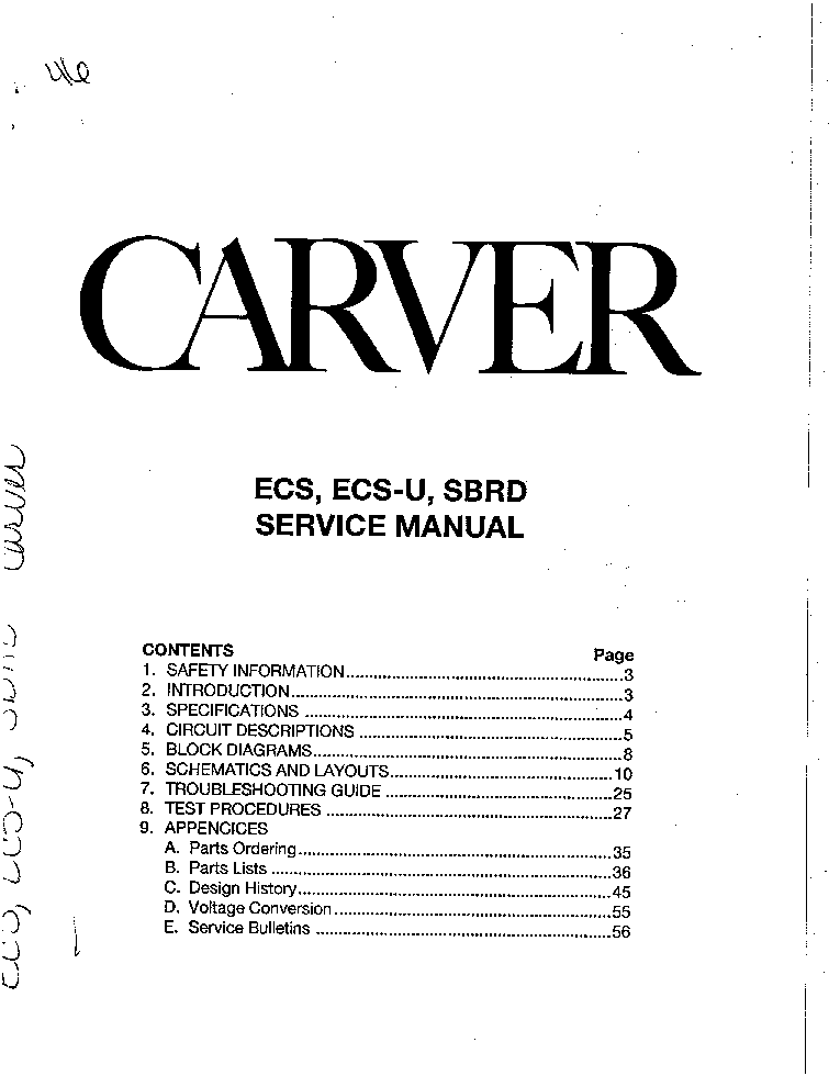 CARVER PM-1400 SCH OWN Service Manual free download ...