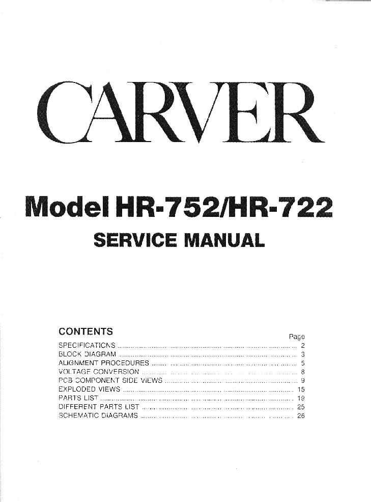 CARVER HR-722 HR-752 RECEIVER 1990 SM Service Manual download ...