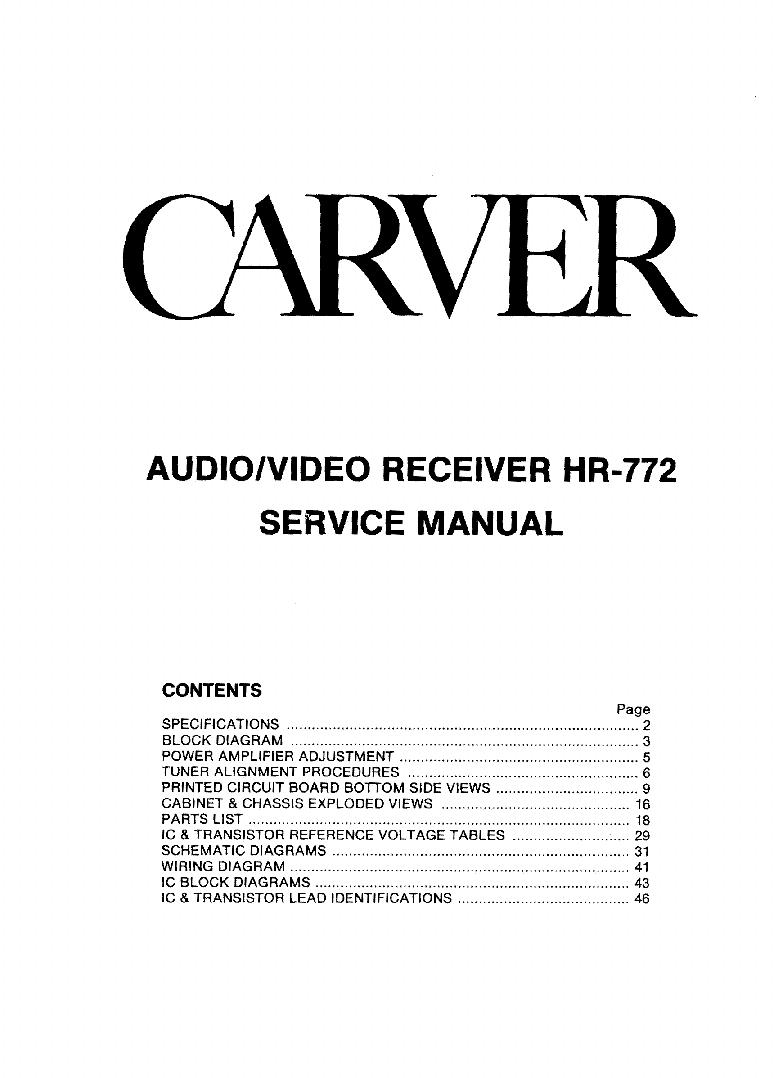 CARVER HR-772 Service Manual download, schematics, eeprom ...