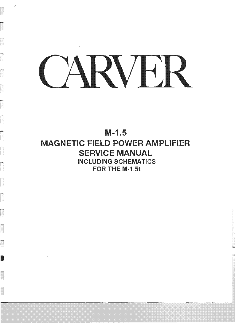 carver m 1 5 service manual download schematics eeprom repair rh elektrotanya com Audio Amplifier Carver Amplifier Manuals