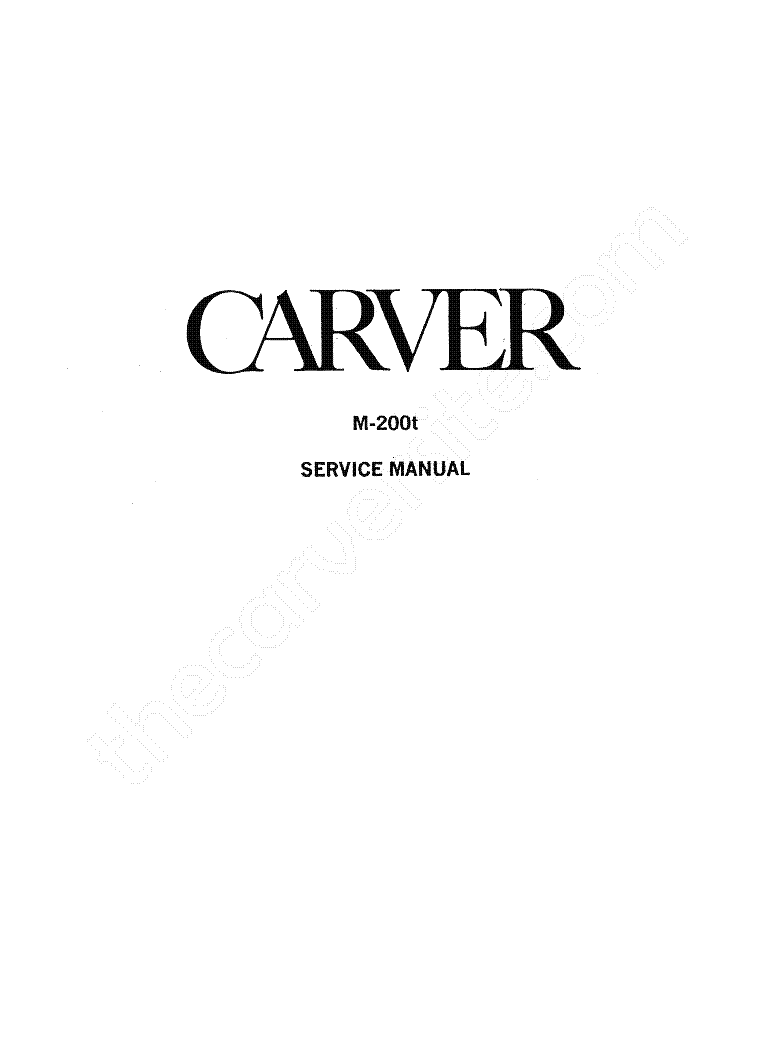 CARVER M-200T service manual (2nd page)