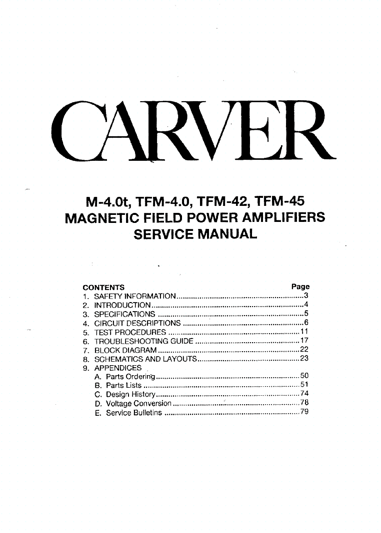 carver m4 0t tfm4 0 tfm42 tfm45 service manual download schematics rh elektrotanya com Bob Carver Audio Carver Silver Nine T