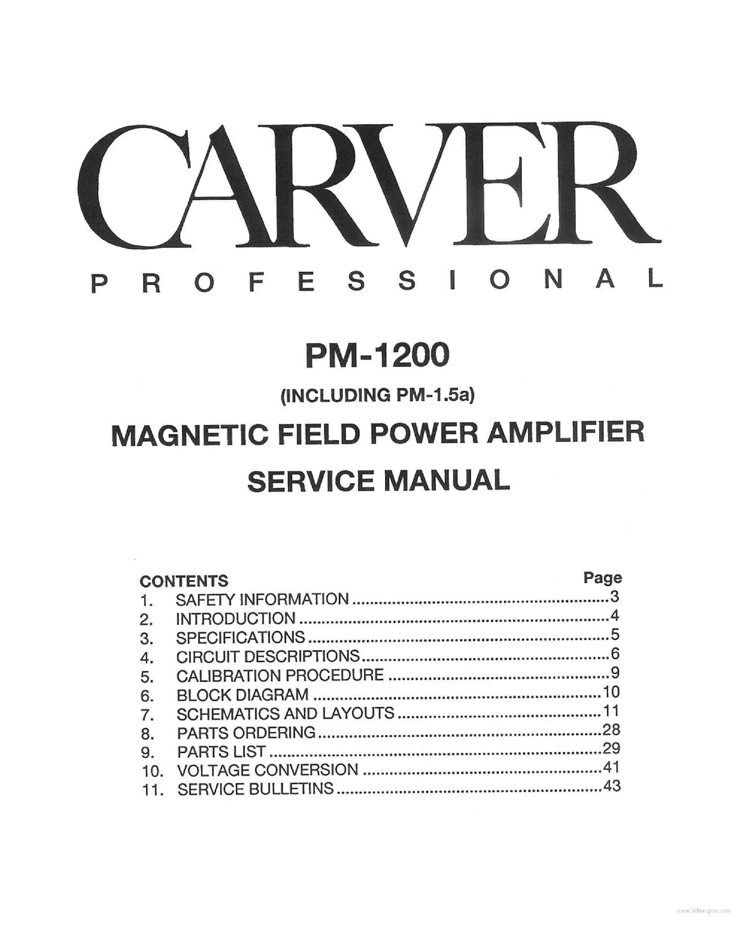 CARVER PM-1200 AMPLIFIER service manual (1st page)