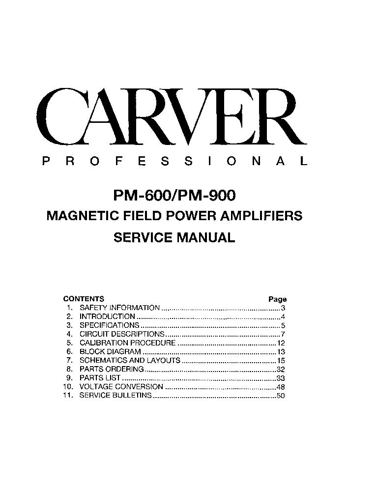 carver pm 900 power amplifier 1991 sm service manual download rh elektrotanya com carver pm1.5 service manual carver pt 2400 service manual