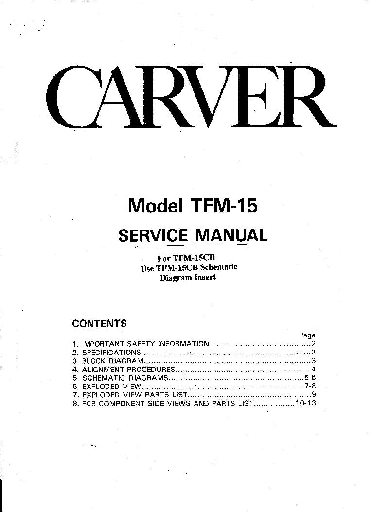 carver tfm 15 cb 2x100w 1992 sm service manual download schematics rh elektrotanya com Carver Amps Bob Carver Audio