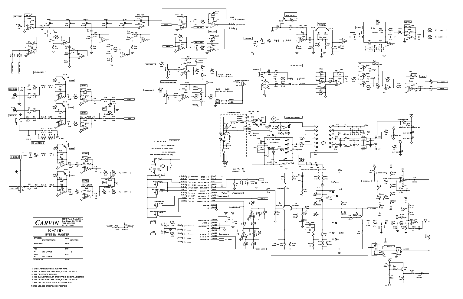 carvin kb100 sch service manual download, schematics ... wiring schematics in series two side by side carvin wiring schematics #10