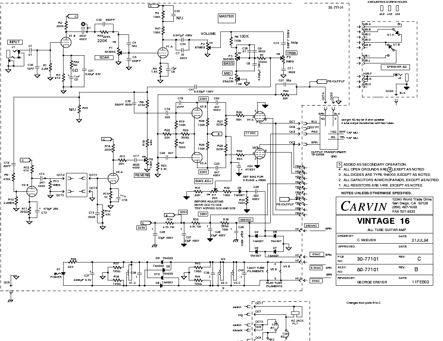 carvin vintage 16 sch service manual download  schematics