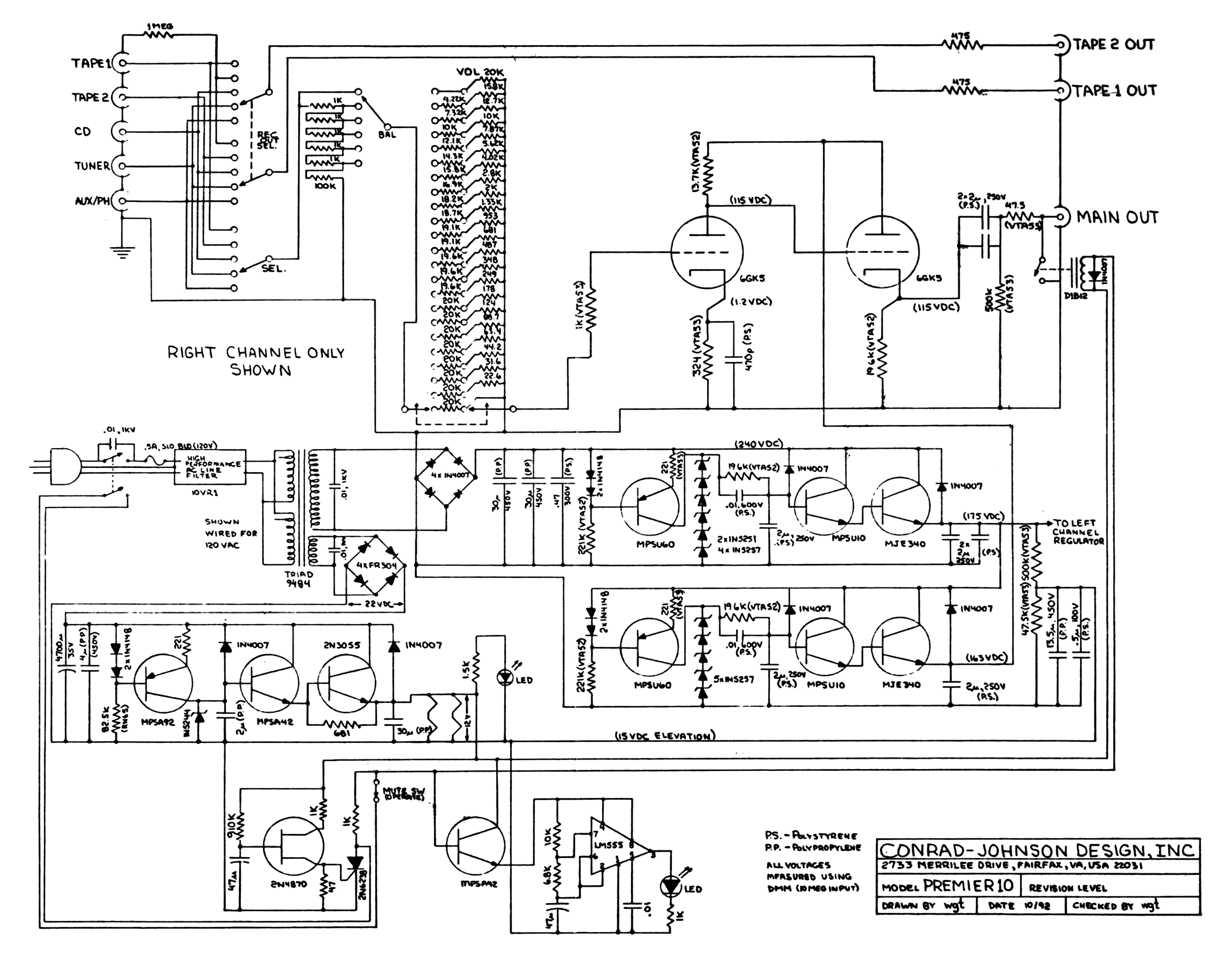 Conrad Johnson Premier Ten Schematic Service Manual Download Evinrude 115 Wiring Diagram Free Picture 1st Page