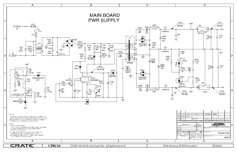 Crate Cpb150 Power Block Preamp Sch Service Manual