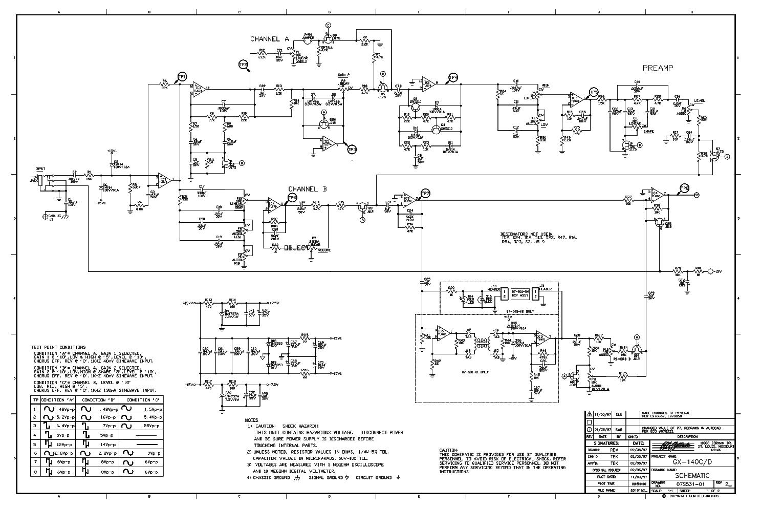 CRATE GX-140C GX-140D 07S531-01 PREAMP SCH service manual (1st