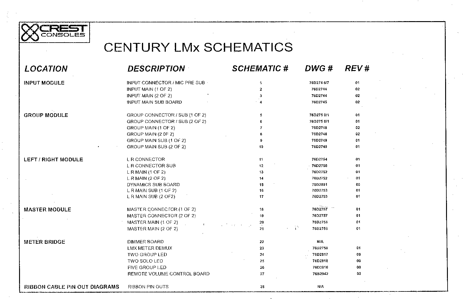 CREST CONSOLES LMX SCH service manual (1st page)