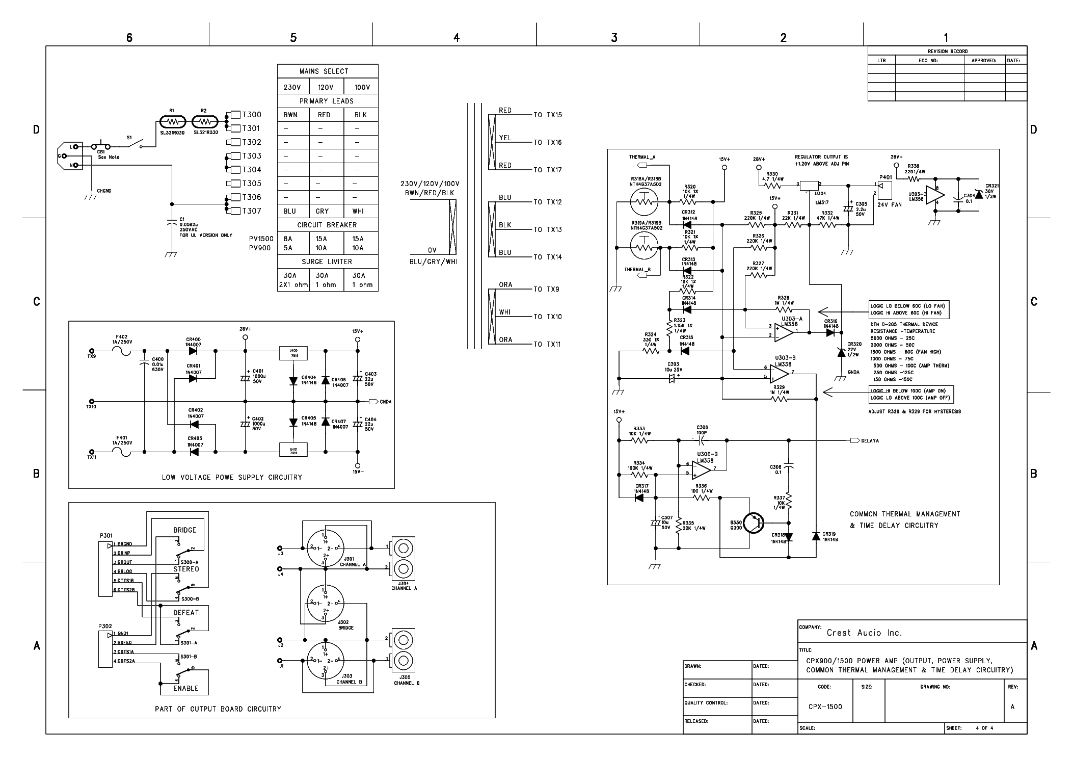 1500w Power Amplifier Circuit Schematic
