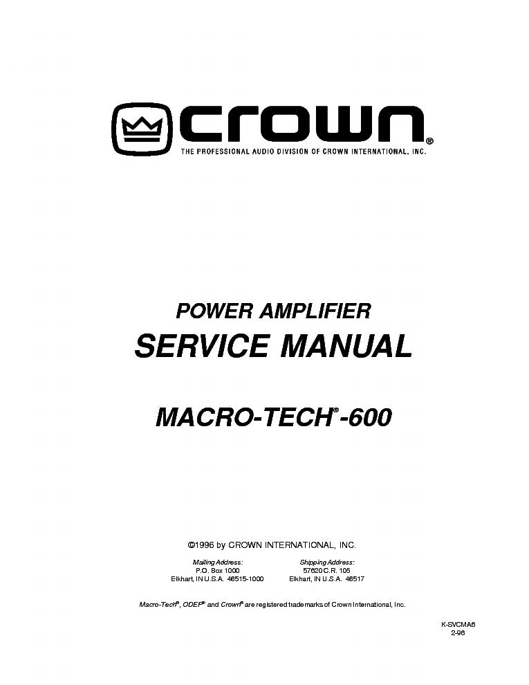 Crown macro tech 10000 service manual