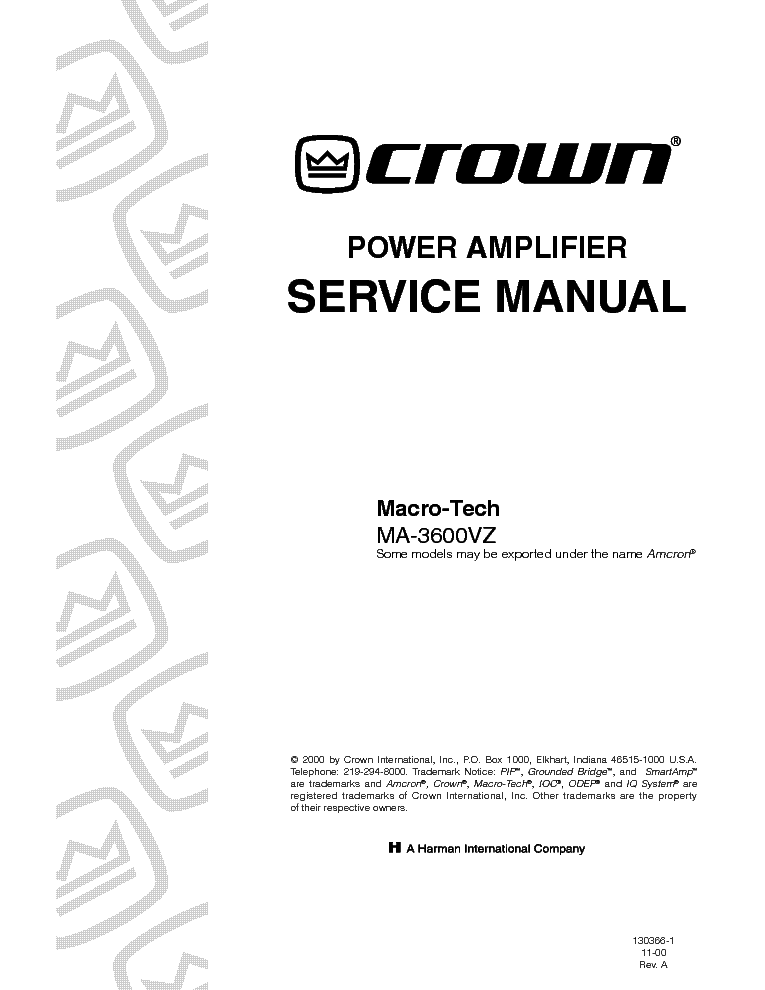 CROWN MACRO-TECH MA-3600VZ service manual