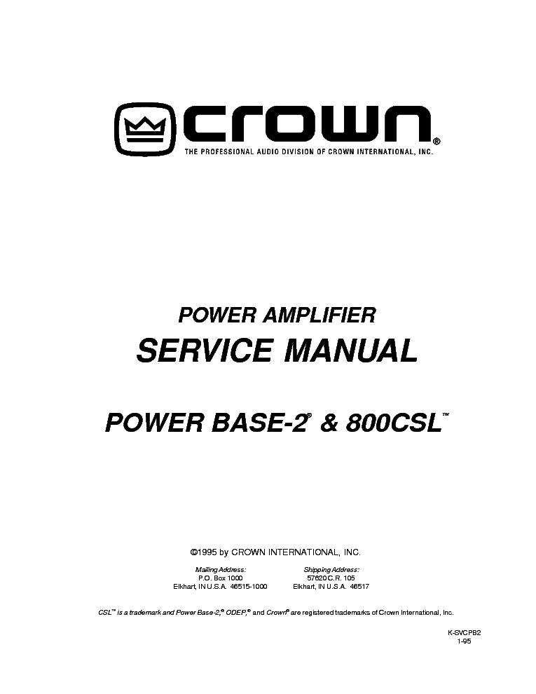 Crown power base 2 Manual