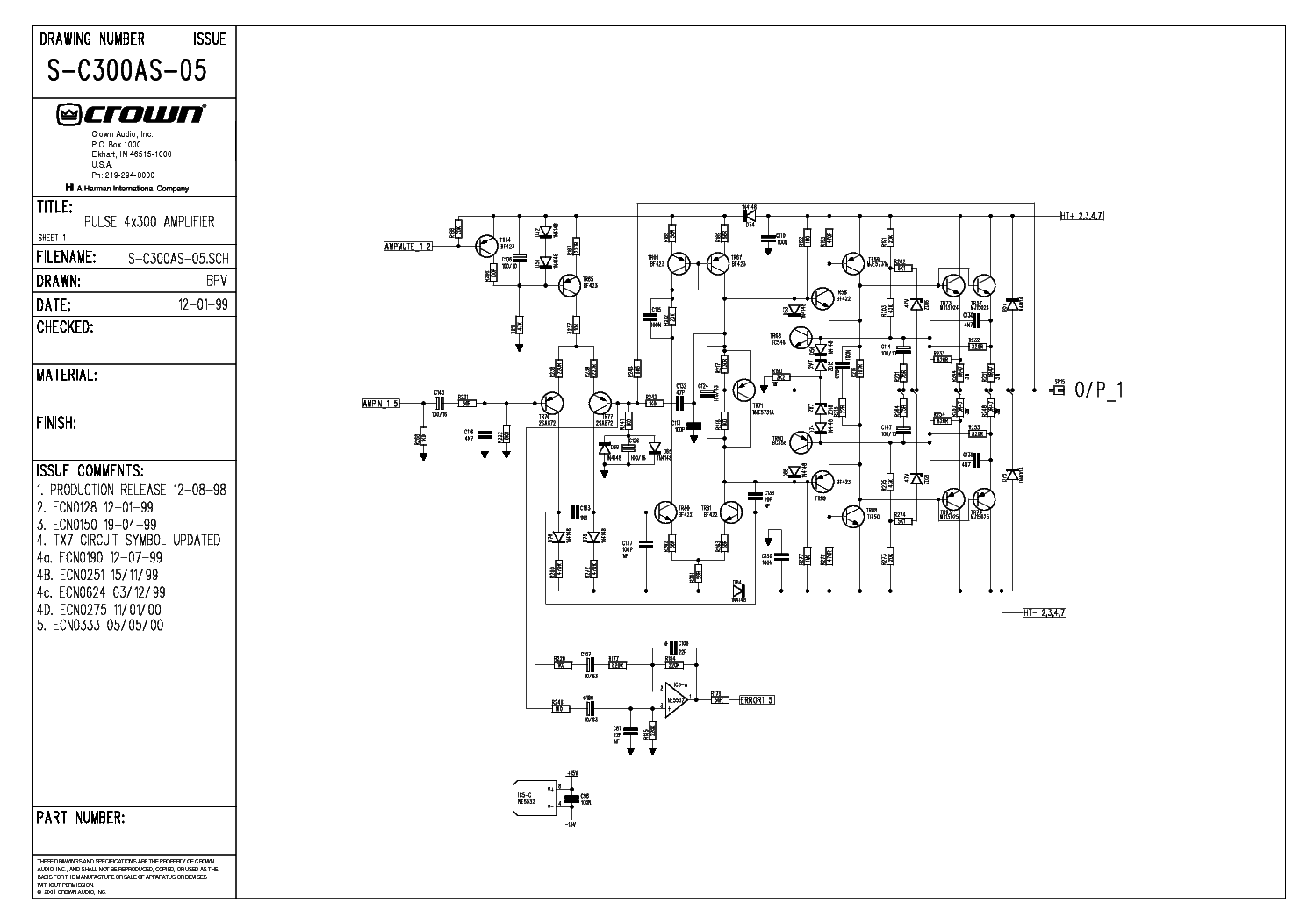CROWN PULSE-4X300 SCH service manual (1st page)