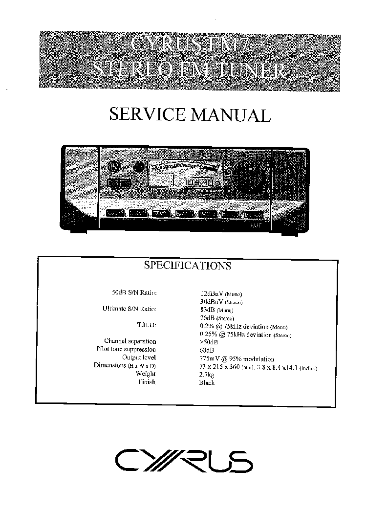 CYRUS FM7 SERVICE service manual (1st page)