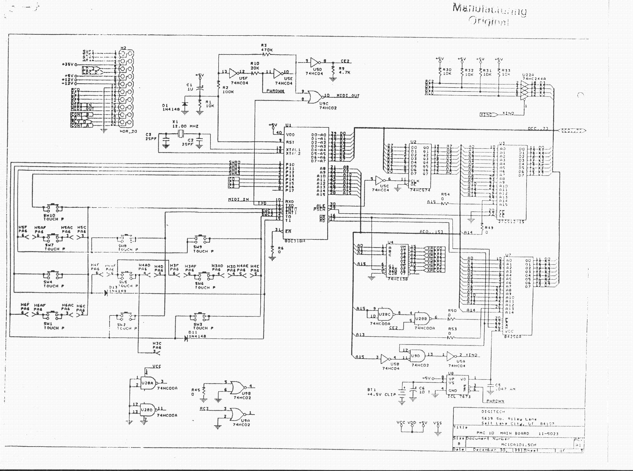 DIGITECH PMC10 MIDI CONTROLLER SCH Service Manual download