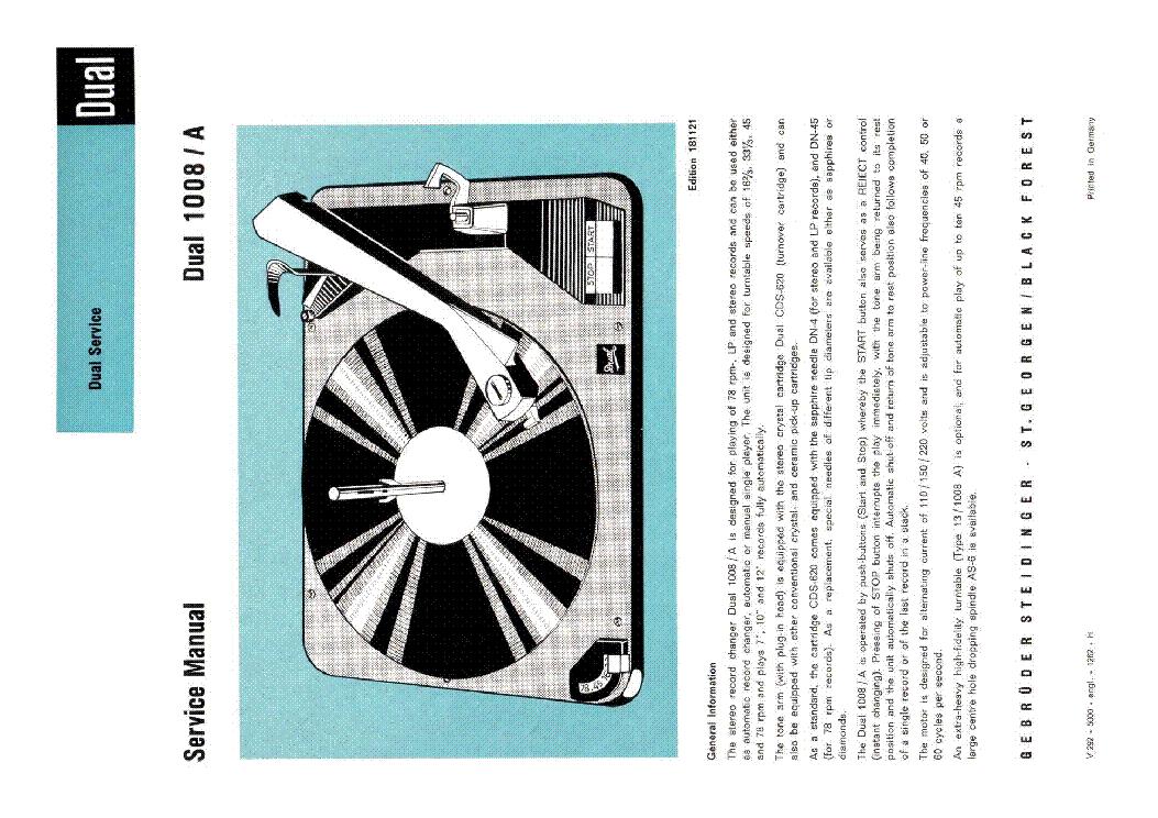 Service Manual-anleitung Für Dual 1008 A Tv, Video & Audio