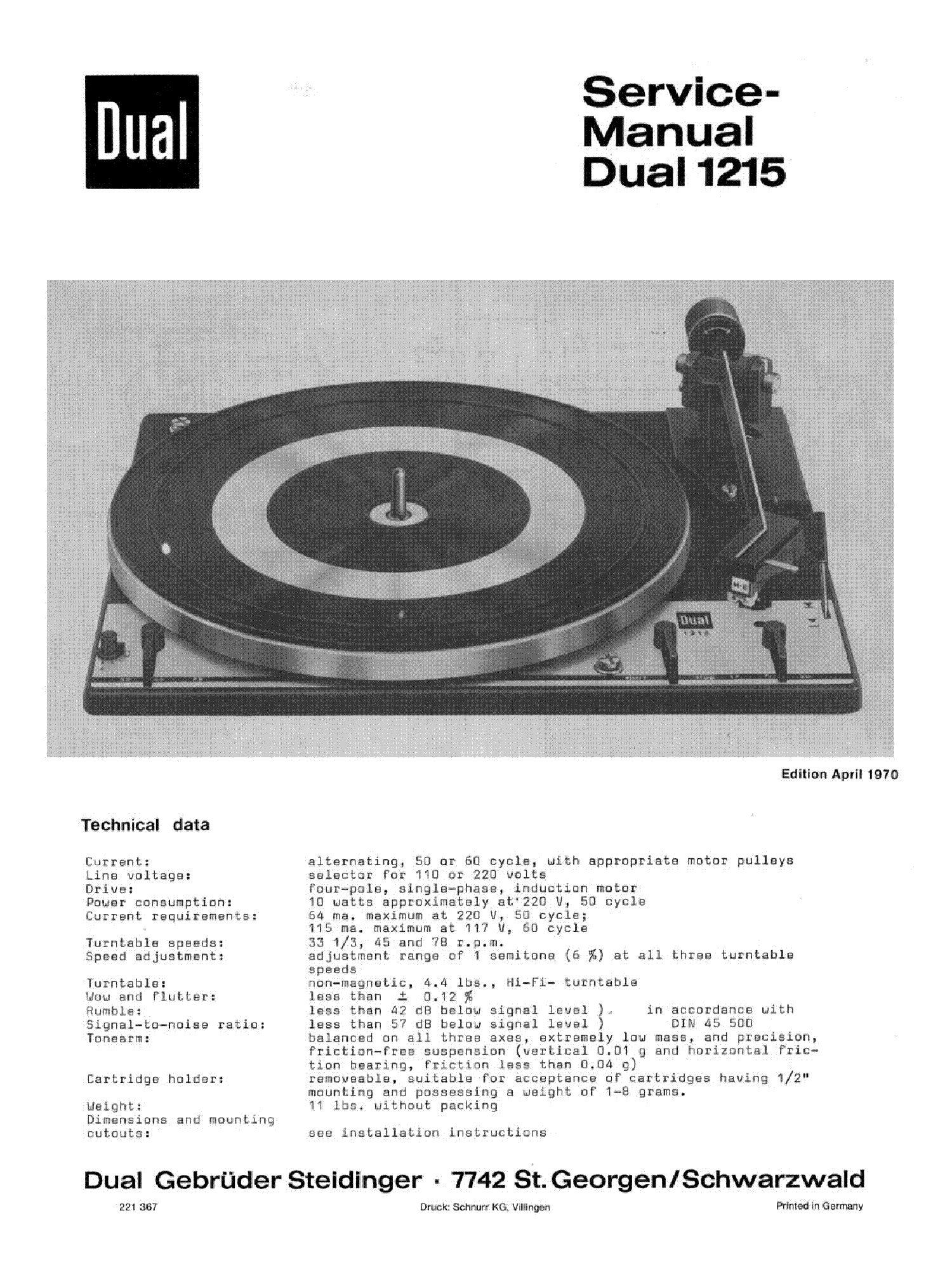 DUAL 1215 TURNTABLE service manual (1st page)