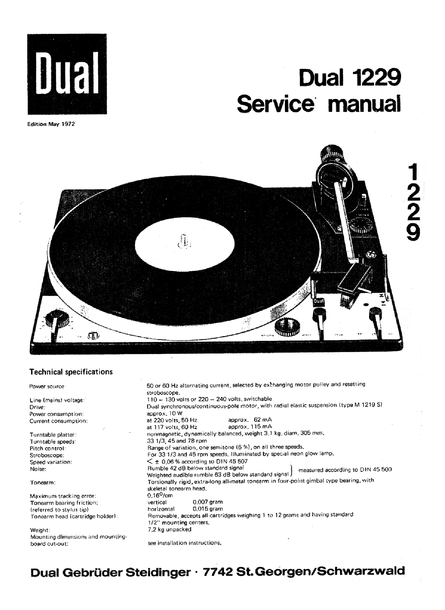 DUAL 1229 TURNTABLE service manual (1st page)