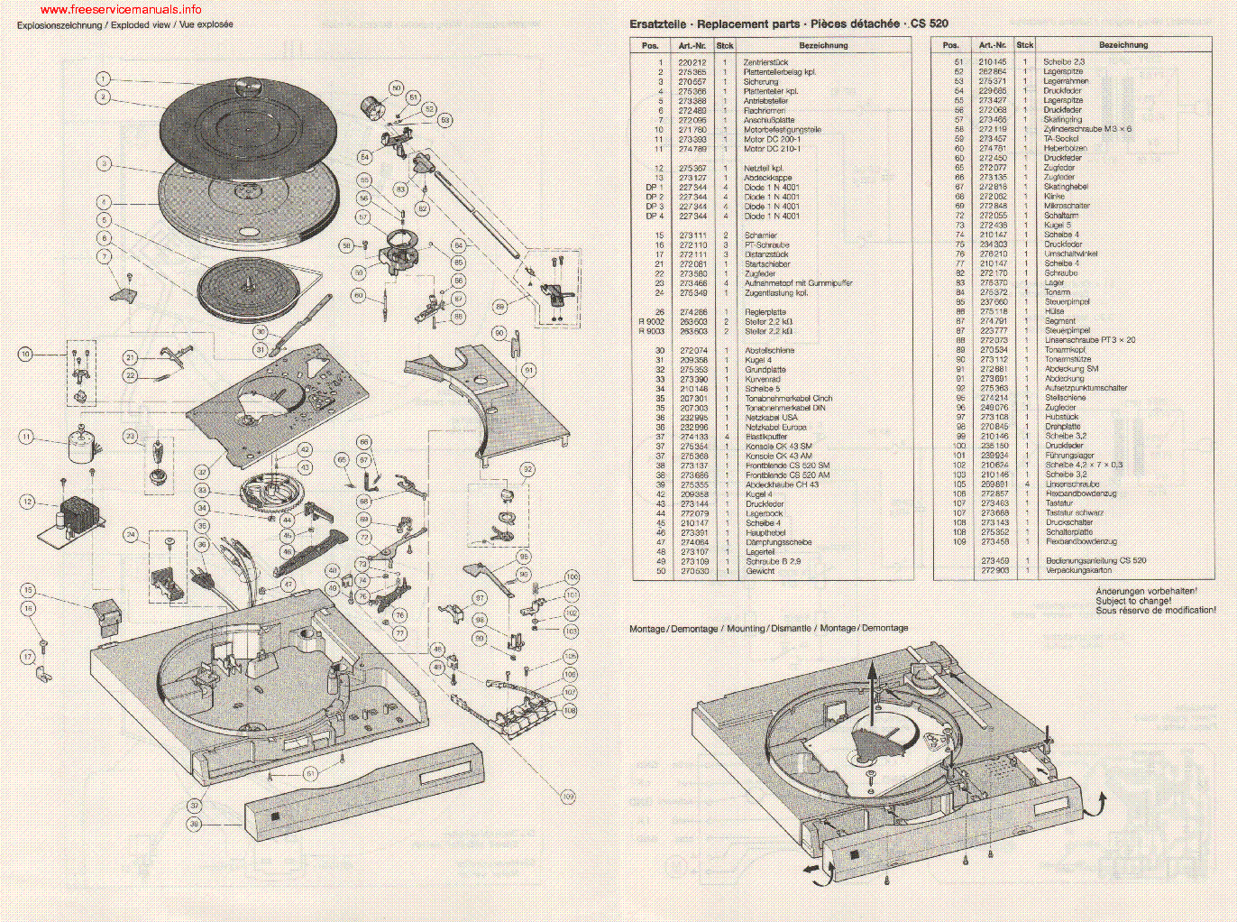 Dual Cs520 Turntable Service Manual Download  Schematics