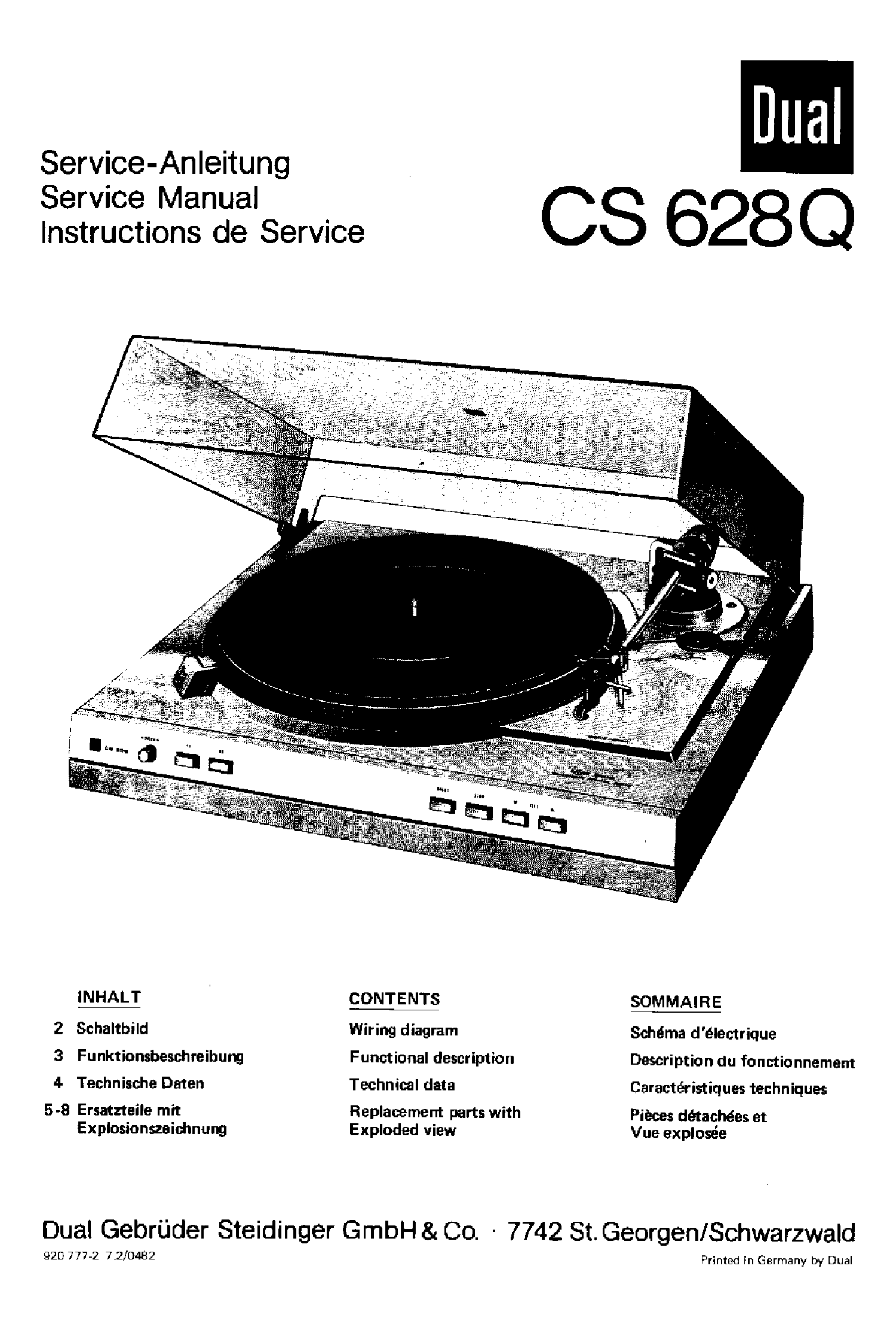 Dual 1229 Turntable Service Manual Download Schematics Eeprom Wiring Diagram Cs628q