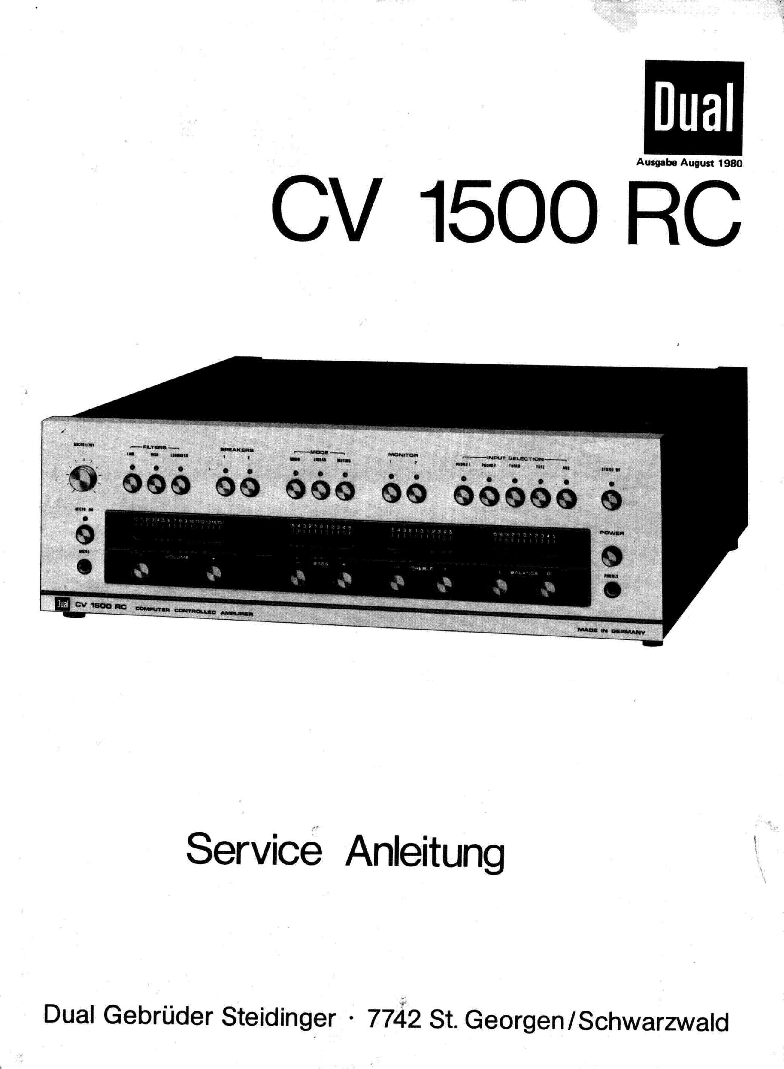 dual cv 1500 rc computer controlled sm service. Black Bedroom Furniture Sets. Home Design Ideas
