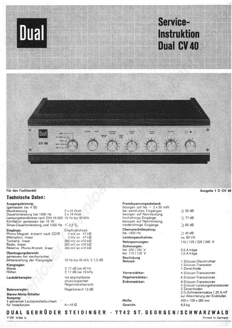 DUAL CV-40 1968 INSTRUCTION SCH Service Manual download, schematics ...