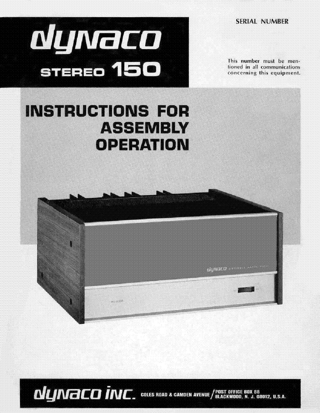 DYNACO ST-150 INSTRUCTIONS ASSEMBLY MANUAL Service Manual