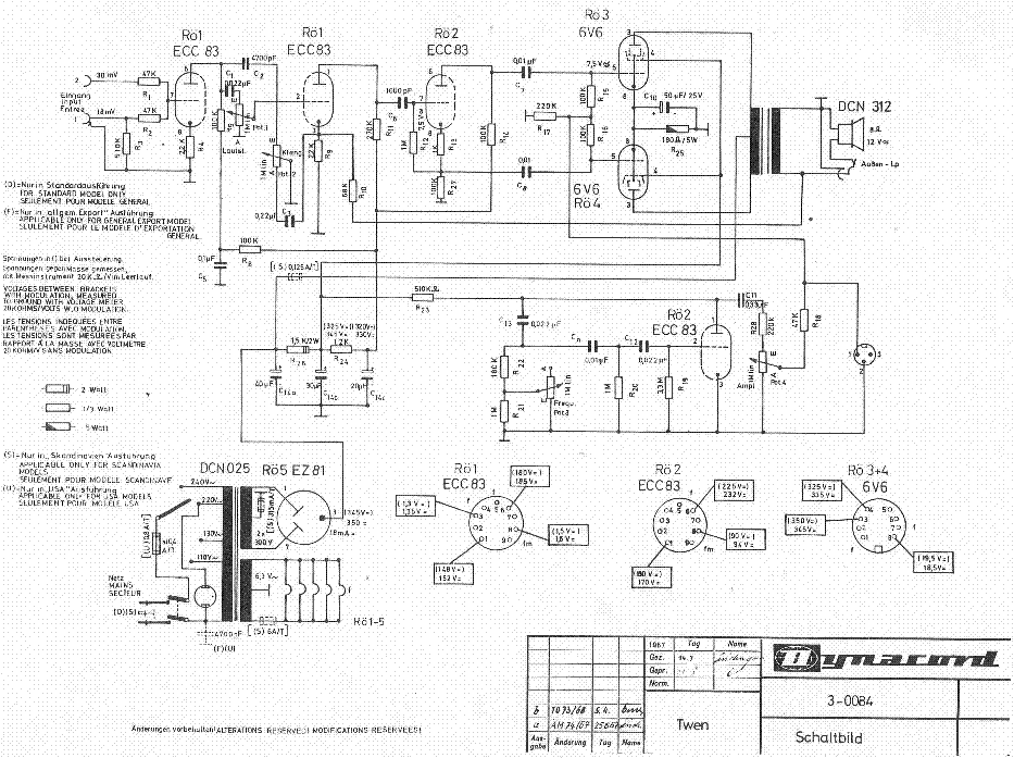 DYNACORD TWEN VALVE AMPLIFIER SCH service manual