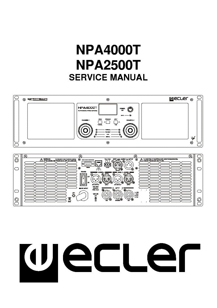 Ecler Npa4000t Npa2500t Power Amplifier Sm Service Manual