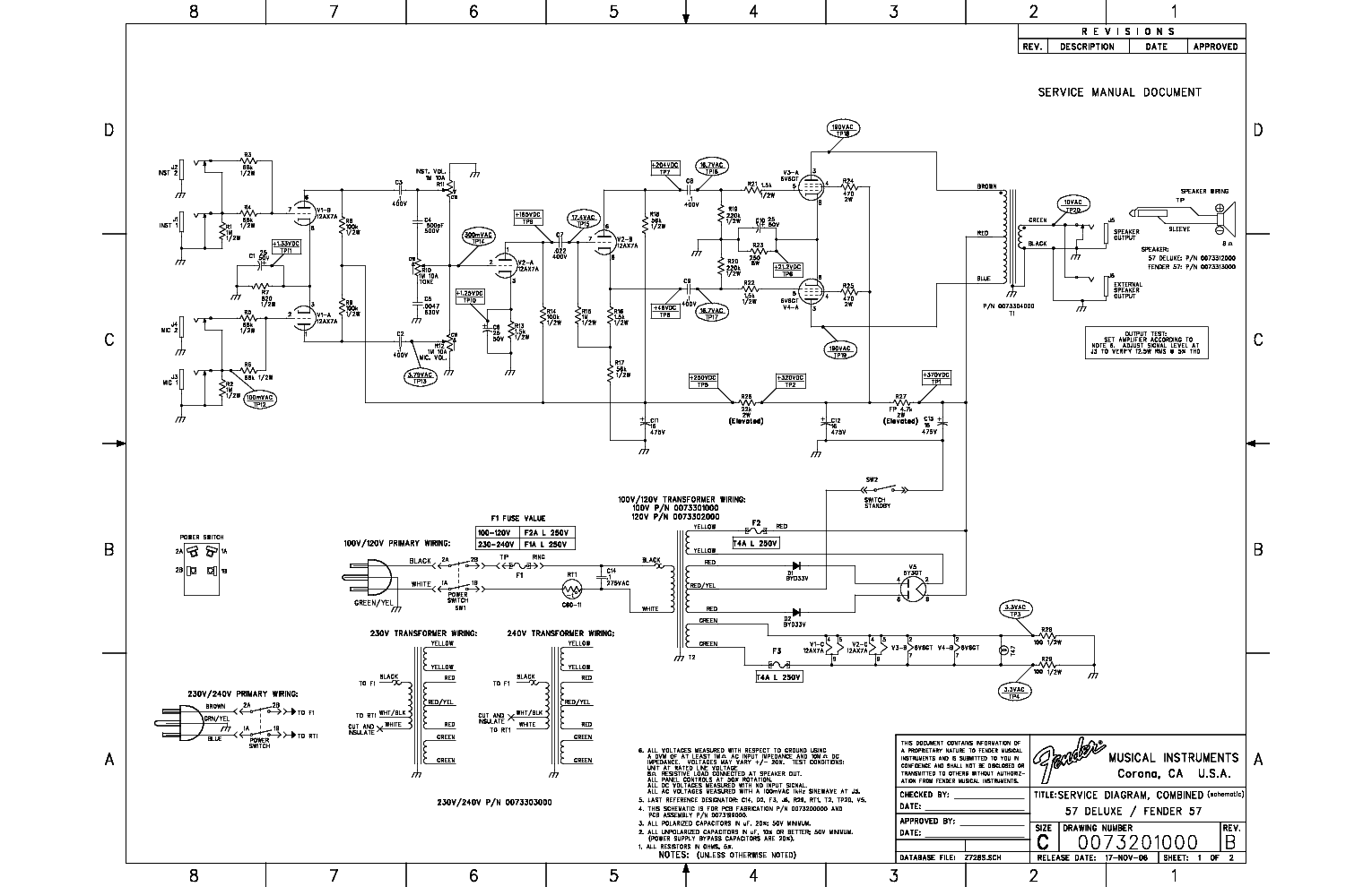 Fender deluxe Service Manual on