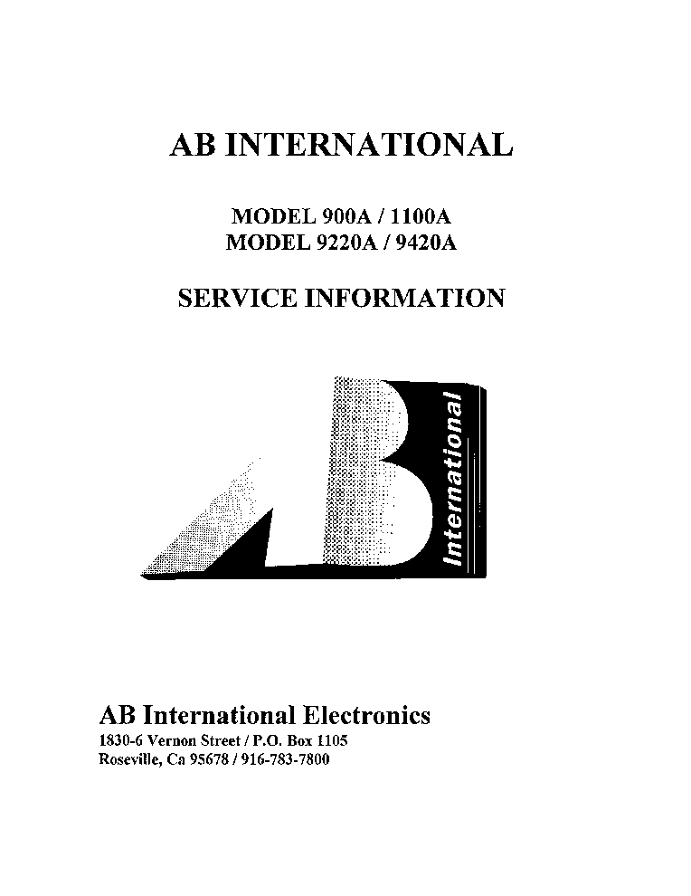 AB INTERNATIONAL 900A 1100A 922A 9420A service manual (1st page)