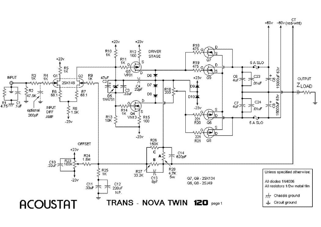ACOUSTAT TRANS-NOVA TWIN-200 SCH Service Manual download, schematics