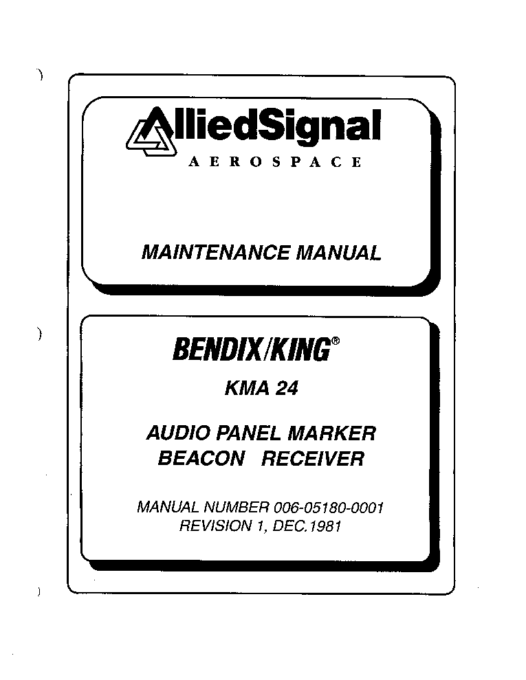 ALLIEDSIGNAL AEROSPACE BENDIX-KING KMA24 AUDIO PANEL MARKER SM service manual