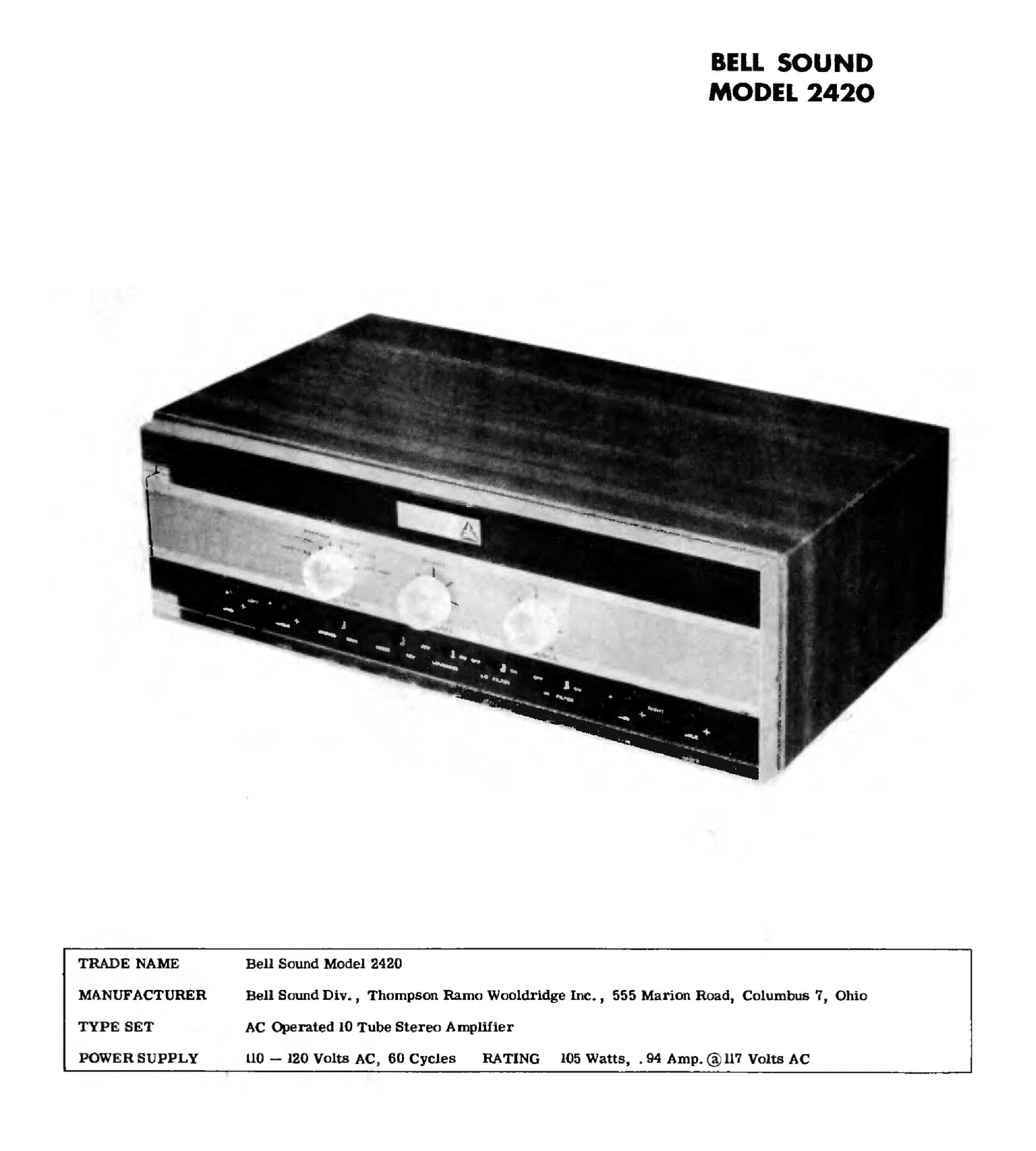 BELL-SOUND 2420 Service Manual download, schematics, eeprom