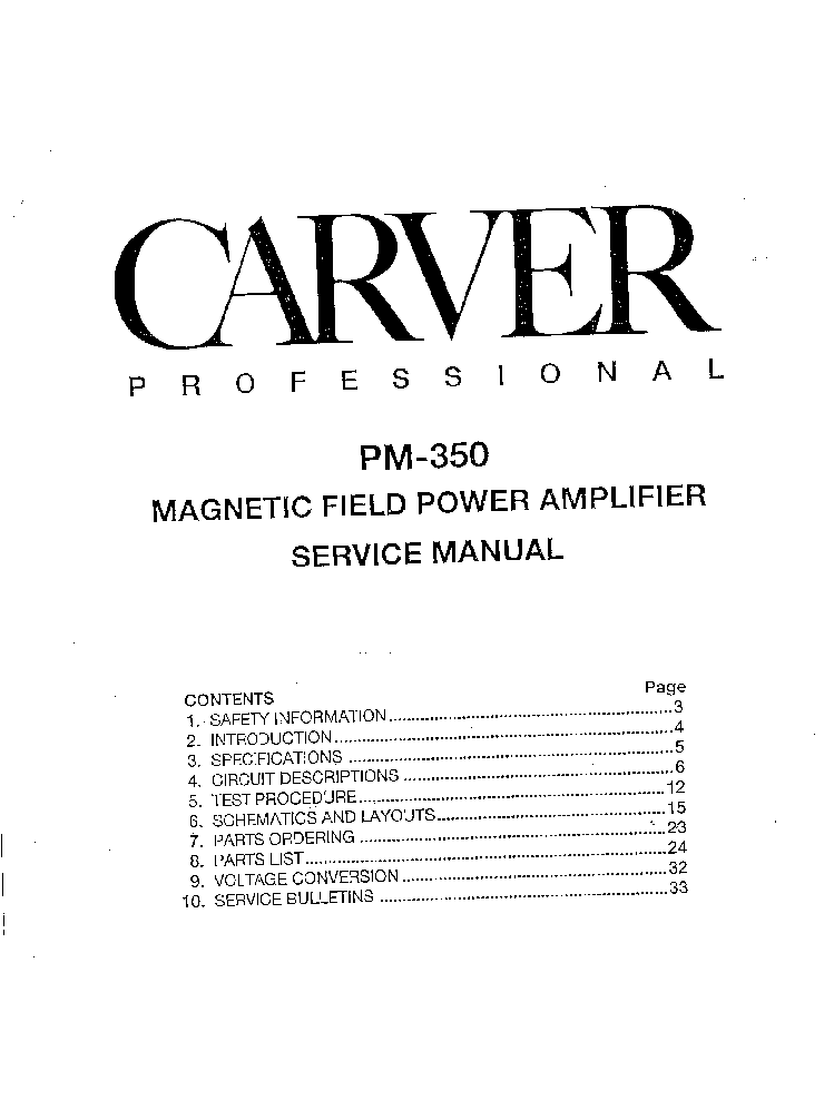 carver pm 350 amplifier service manual download schematics eeprom rh elektrotanya com Carver Av Carver Av