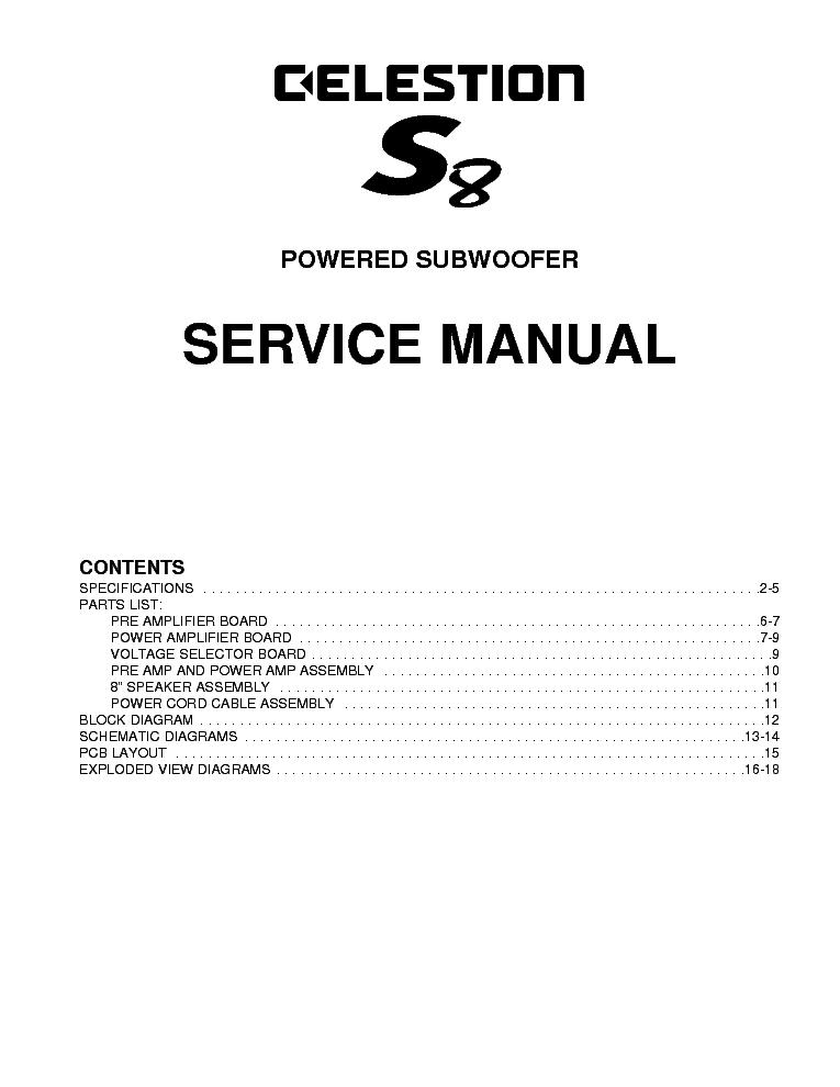 celestion s8 powered subwoofer service manual download schematics rh elektrotanya com Celeste Logo Celestion Pokemon