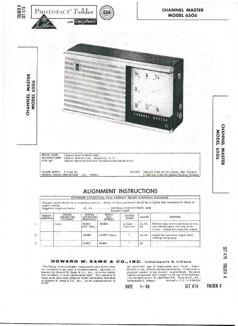 CHANNEL MASTER 6506 SM service manual (1st page)