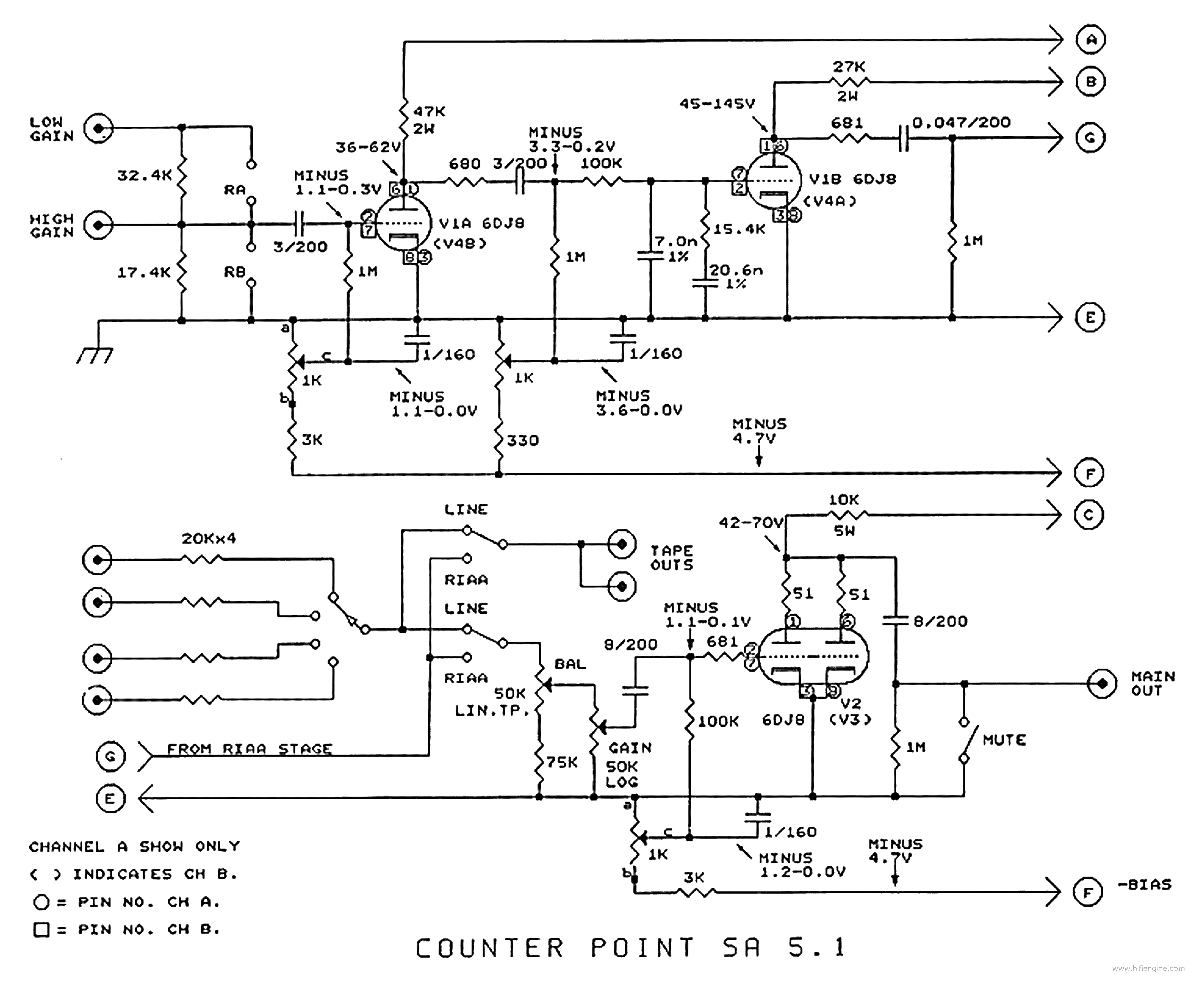 Counterpoint Sa 51 Preamp Schematic Service Manual Download Circuit 1st Page