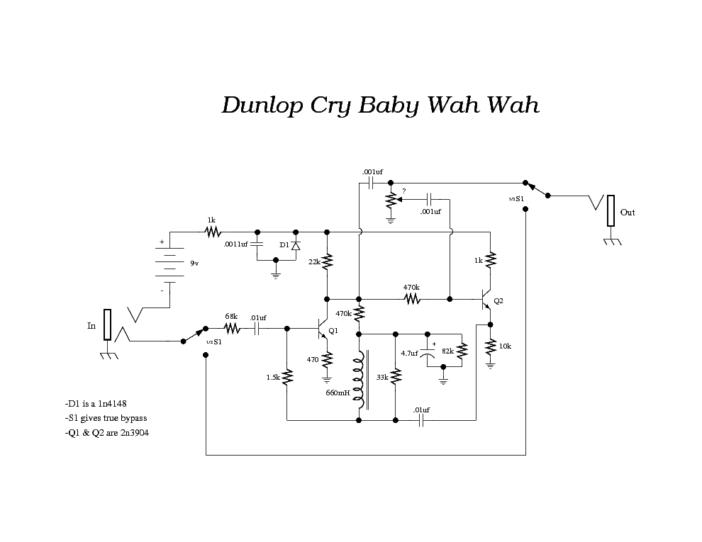 dunlop crybaby wah schematic