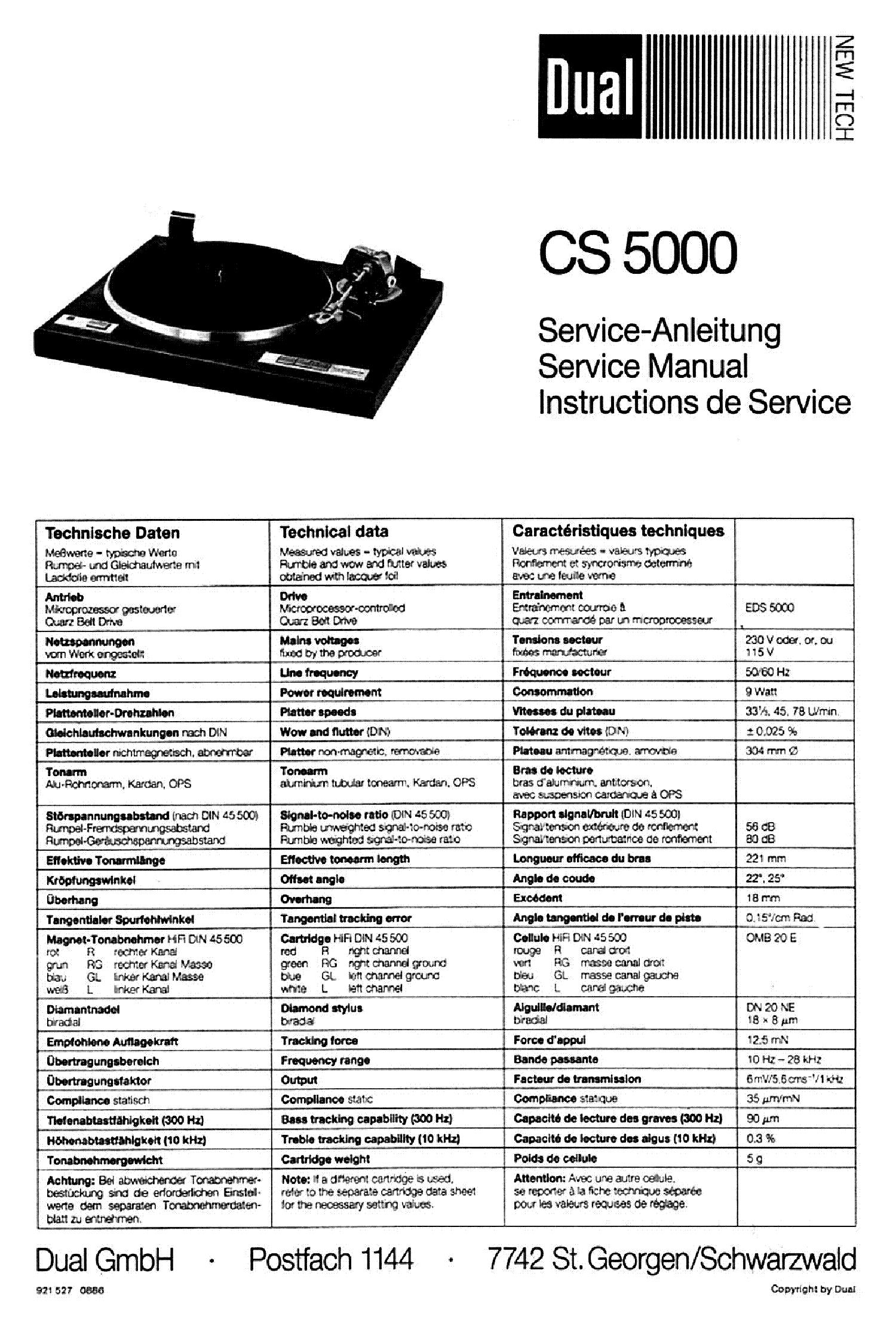 Duson Dual Cs 5000 Lemezjatszo 1986 Sm Service Manual