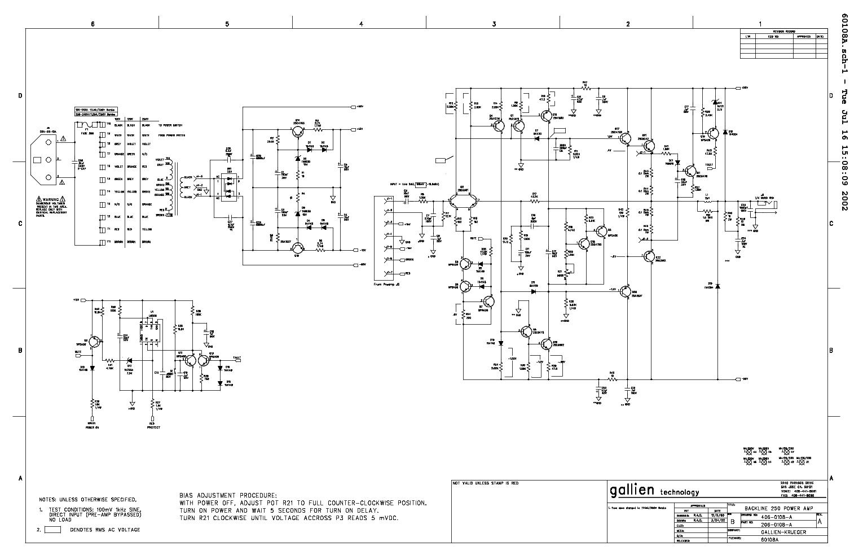 GALLIEN KRUEGER BL250 115 POWERAMP 206 0180 Service Manual download